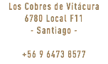 Los Cobres de Vitácura 6780 Local F11 - Santiago - +56 9 6473 8577